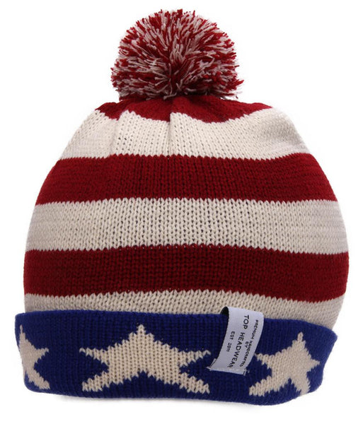 TopHeadwear USA Flag Cuffed Knitted Beanie