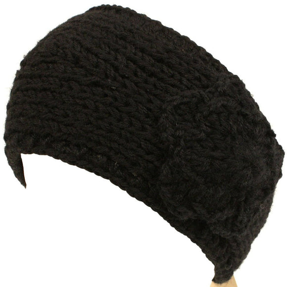 Adjustable Hand Knit Headwrap Headband Chunky Flower Wide Solid Black