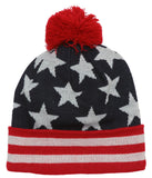 Stars and Stripes Beanie w/ Pom