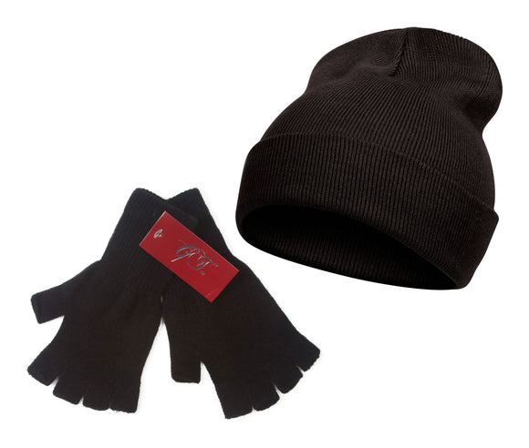 TopHeadwear Long Beanie and Fingerless Glove Combo Set