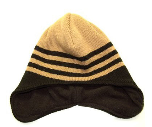 Winter Cuffless Derby Striped Beanie Cap - (Different Colors), Brown