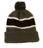 Topheadwear Winter Striped Beanie with Pom
