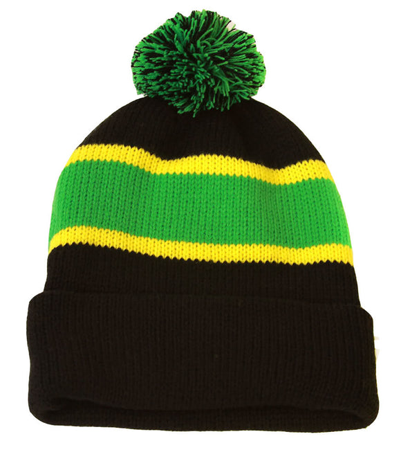 Winter Striped Beanie with Pom - Green/Black/yell