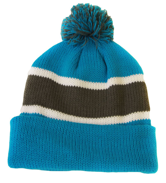 Winter Striped Beanie with Pom - Turquoise/Grey