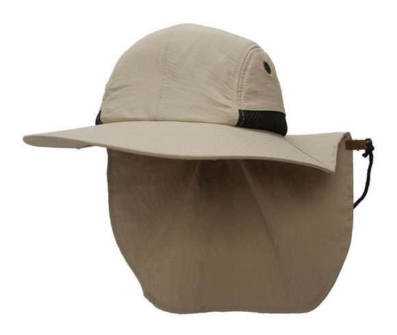 TopHeadwear 4 Panel Large Bill Flap Sun Hat w/ Adjustable Flap Clip