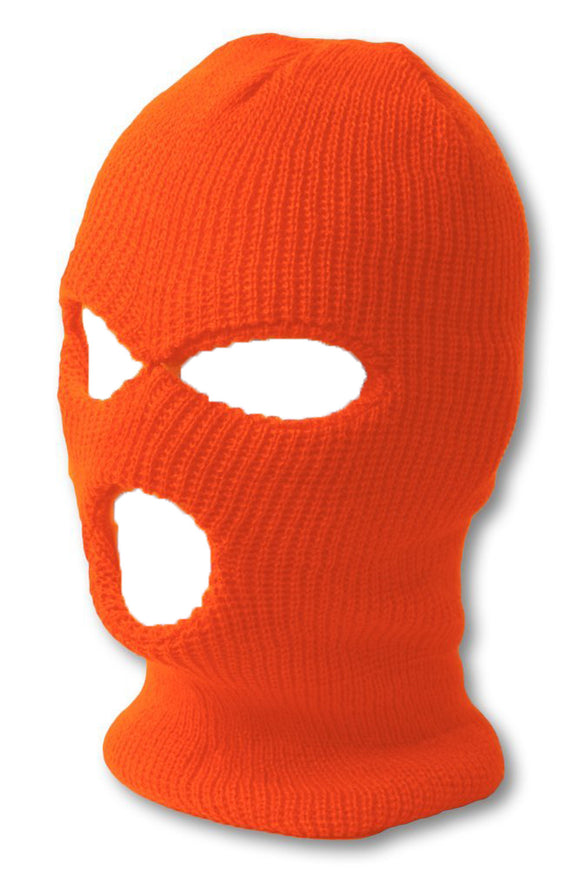 TopHeadwear's 3 Hole Face Ski Mask, Neon Orange