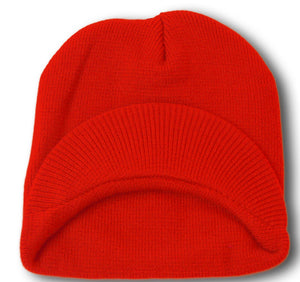 TopHeadwear Cuffless Jeep Visor Winter Beanie - Red