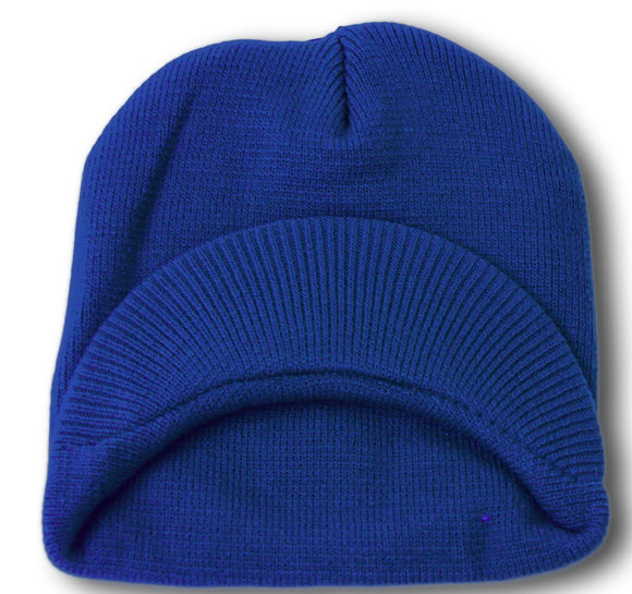 TopHeadwear Cuffless Jeep Visor Winter Beanie - Royal