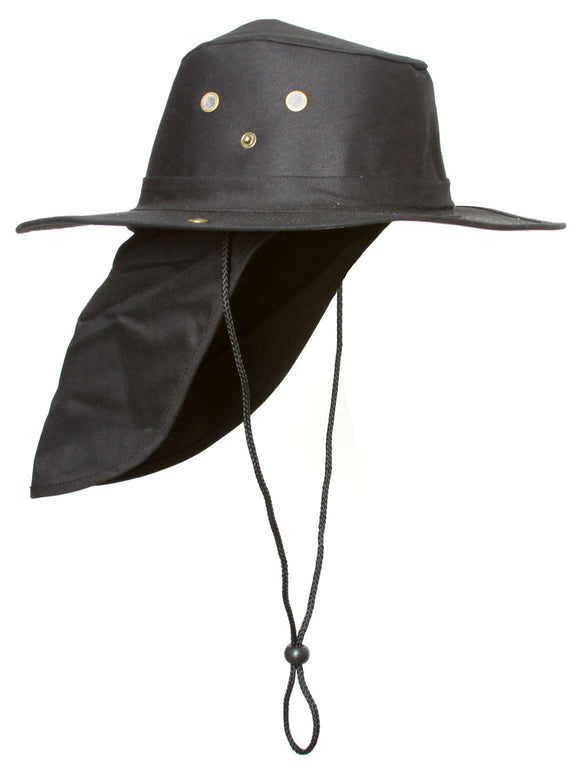 Top Headwear Safari Explorer Bucket Hat With Flap Neck Cover - Black