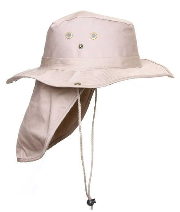 Top Headwear Safari Explorer Bucket Hat With Flap Neck Cover - Beige