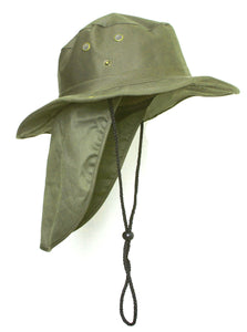 Top Headwear Safari Explorer Bucket Hat With Flap Neck Cover - Olive