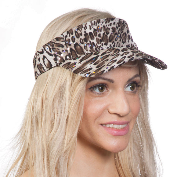 TopHeadwear Womens Glitter Animal Print Adjustable Visor