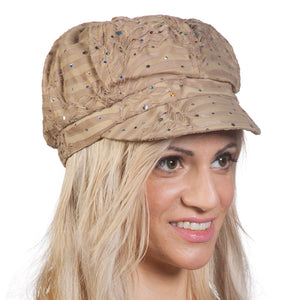 TopHeadwear Glitter Sequin Trim Newsboy Hat