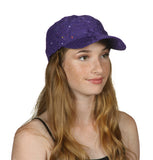 Womens Sequin Trim Baseball Cap