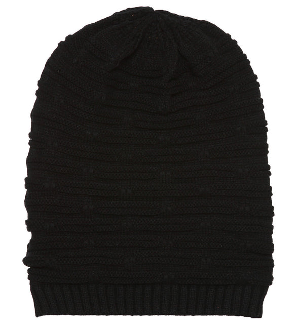 Topheadwear Winter Knitted Dash Short Beanie - Black