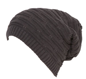 Topheadwear Winter Knitted Slouch Beanie - Brown