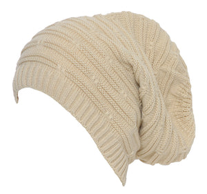 Topheadwear Winter Knitted Slouch Beanie - Cream
