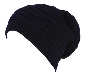 Topheadwear Winter Knitted Slouch Beanie - Navy