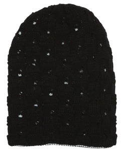 Topheadwear Winter Knitted Reversable Beanie - Black