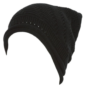 Topheadwear Winter Knitted Diagonal Slouch Beanie - Black