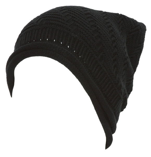 Winter Knitted Diagonal Slouch Beanie