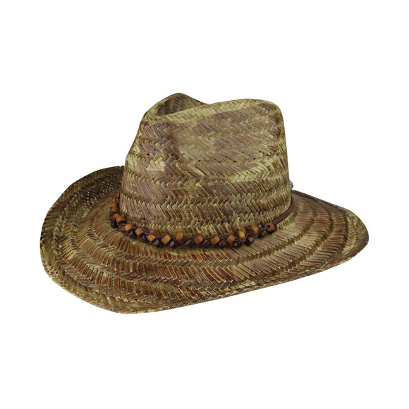Western Tea Stained Straw Hat - Brown