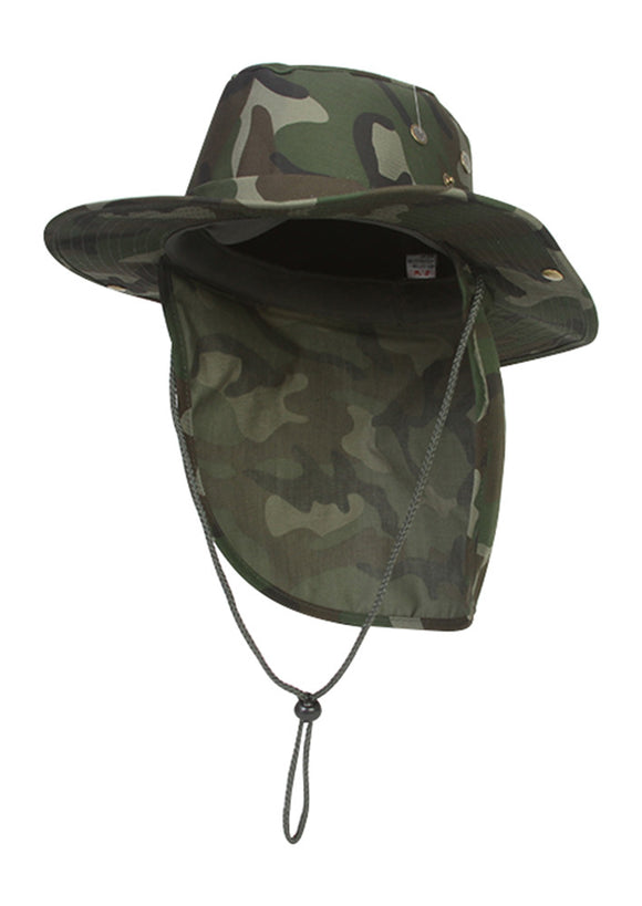 Top Headwear Safari Explorer Bucket Hat With Flap Neck Cover - Camoflauge