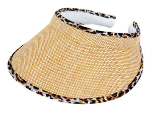 TopHeadwear Straw Visor with Leopard Trim