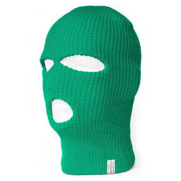 TopHeadwear's 3 Hole Face Ski Mask, Kelly Green