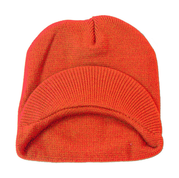 TopHeadwear Cuffless Jeep Visor Winter Beanie - Orange