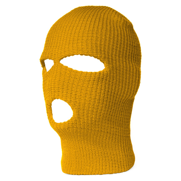 TopHeadwear's 3 Hole Face Ski Mask, Yellow-Gold