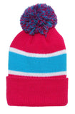 Winter Striped Beanie with Pom