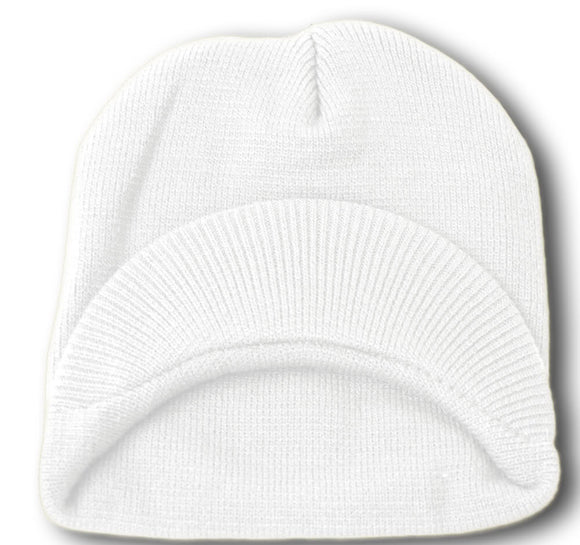 TopHeadwear Cuffless Jeep Visor Winter Beanie - White