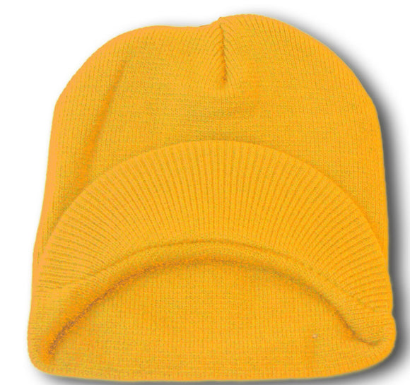 TopHeadwear Cuffless Jeep Visor Winter Beanie - Yellow