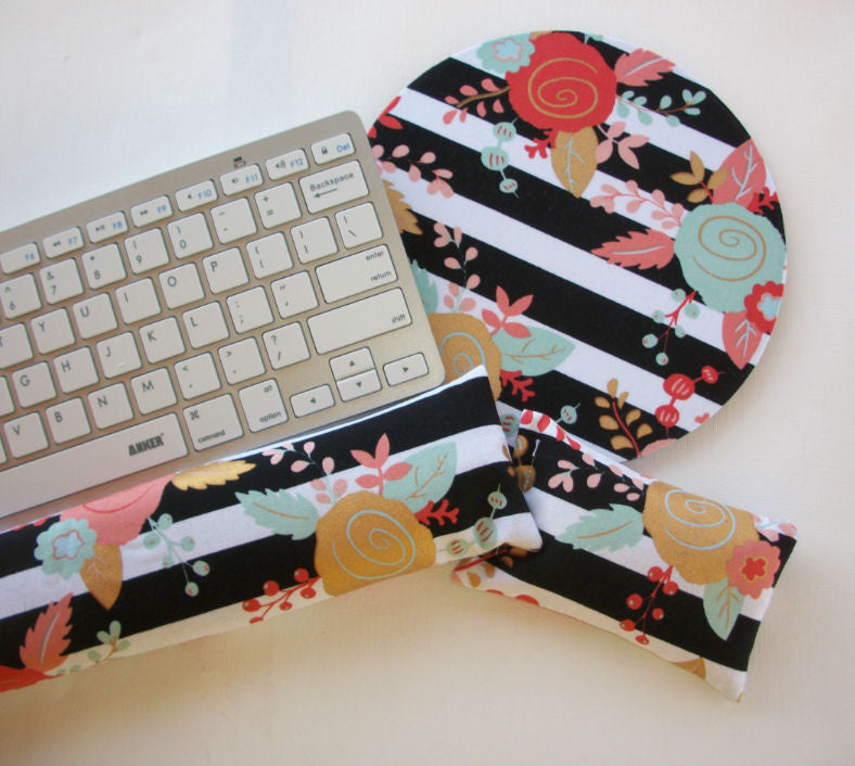 Mouse pad, keyboard rest, and mouse wrist rest set - black white stripes gold metallic flowers - coworker desk cubical office accessories - In His Name