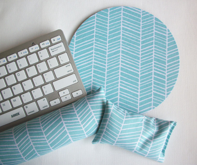 Mouse pad, keyboard rest, and mouse wrist rest set - aqua blue herringbone - coworker desk cubical office accessories - In His Name