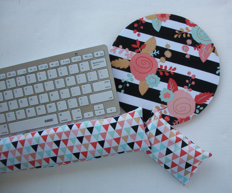 Mouse pad, keyboard rest, and mouse wrist rest set - black white stripe gold metillic flowers triangles- coworker desk cubical office accessories - In His Name