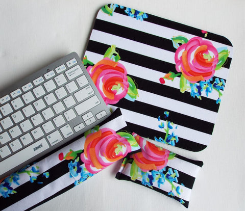 Mouse pad, keyboard rest, and mouse wrist rest set - black white stripe roses floral - coworker desk cubical office accessories - In His Name