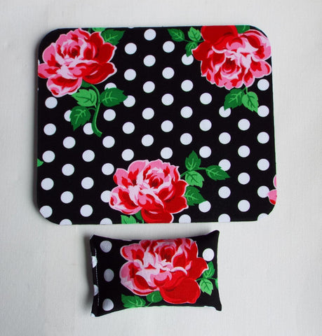 black white dots roses floral desk set - mouse pad and wrist rest - mousepad set coworker gift Desk cubical Accessories - In His Name