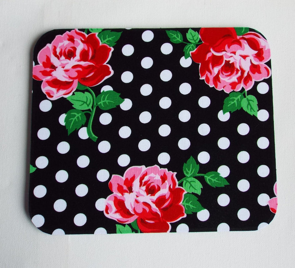 black white dots roses floral Mouse Pad mousepad / Mat - Rectangle or round - In His Name