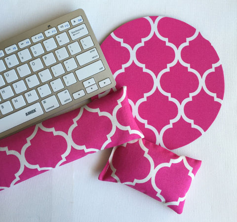 hot pink trellis mouse pad, mousepad keyboard rest, and mouse wrist rest set -   coworker desk cubical office accessories - In His Name