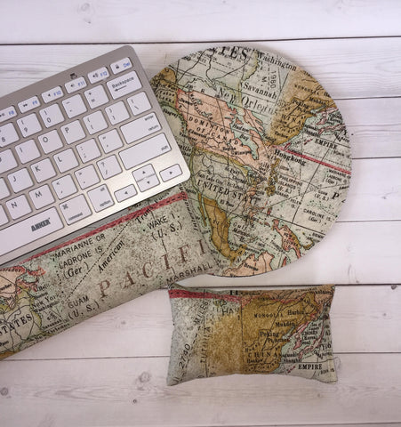 world map mouse pad, mousepad keyboard rest, and mouse wrist rest set -   coworker desk cubical office accessories