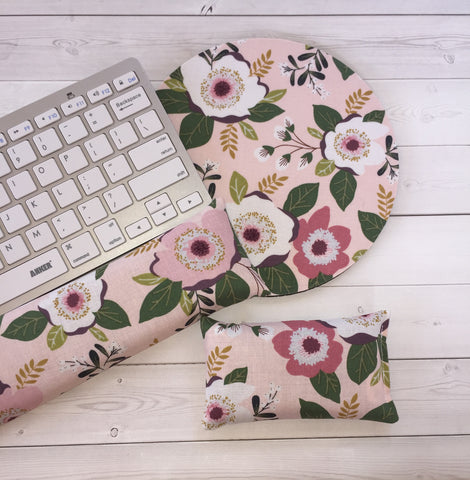 passion flowers mouse pad, mousepad keyboard rest, and mouse wrist rest set -   coworker desk cubical office accessories