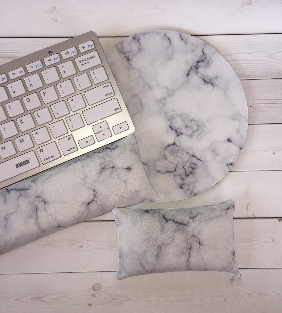 marble mouse pad, mousepad keyboard rest, and mouse wrist rest set -   coworker desk cubical office accessories