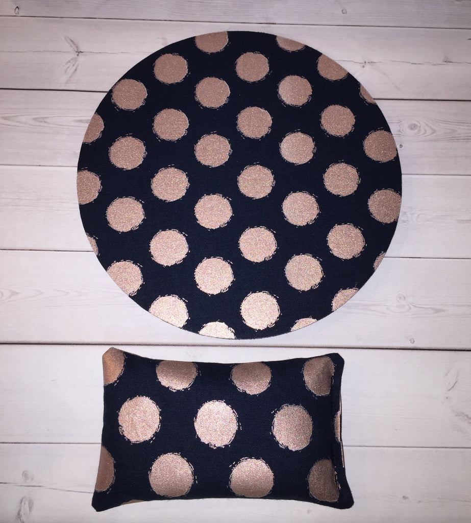 rose gold dots navy desk set - mouse pad and wrist rest - mousepad set coworker gift Desk cubical Accessories