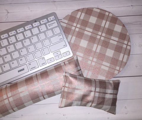 rose gold plaid mouse pad, mousepad keyboard rest, and mouse wrist rest set -   coworker desk cubical office accessories
