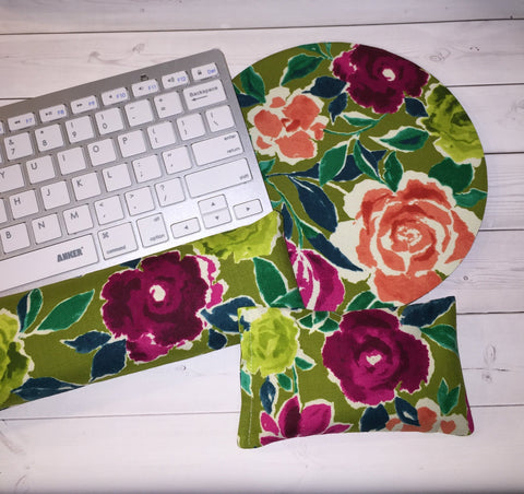 green coral flowers mouse pad, mousepad keyboard rest, and mouse wrist rest set -   coworker desk cubical office accessories