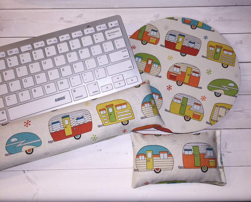 camping camper rv mouse pad, mousepad keyboard rest, and mouse wrist rest set -   coworker desk cubical office accessories