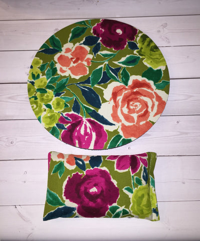 green coral flowers desk set - mouse pad and wrist rest - mousepad set coworker gift Desk cubical Accessories