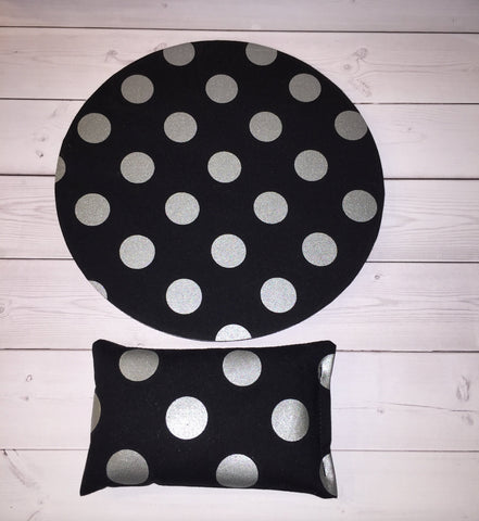 metallic silver dots on black desk set - mouse pad and wrist rest - mousepad set coworker gift Desk cubical Accessories